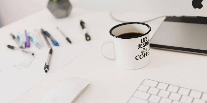 desk scene with coffee
